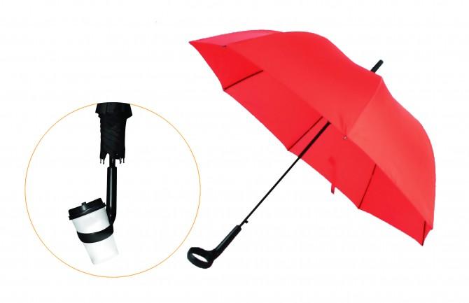 이정우 디자이너가 만든 컵을 꽂는 홀더가 있는 컵홀더 우산 - 이케이디자인 제공